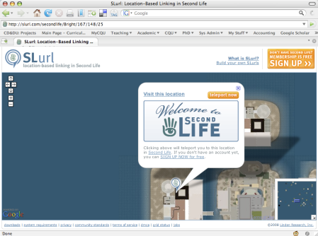 "slurl page showing the ""teleport now"" button"