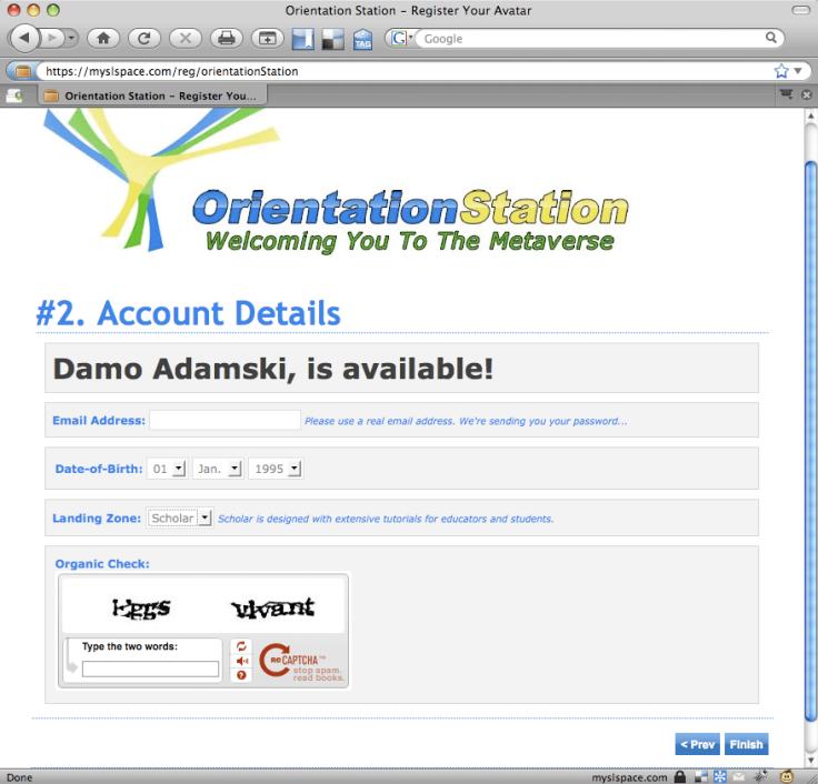 Orientation Station Registration - Step 2