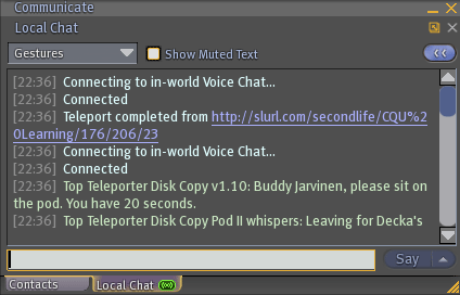 Local chat window in Second Life