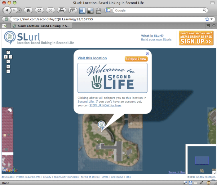 "slurl page showing orange ""teleport now"" button"